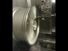 Lathe in action diamond cutting an alloy wheel