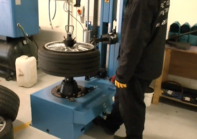 Tyres removed from Alloy Wheels before refurbishment